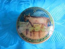 Kleine Dose Lackdose Stier Bulle Kuh Lackmalerei w. Russland Ø 6,5 cm alt  10719