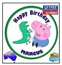 George Peppa pig edible image icing sheet birthday party cake topper personalise
