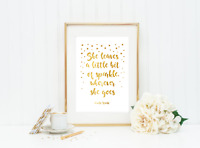 She Leaves A little Sparkle  Gold Foil Print Vintage Foil Rose Gold Wall Art