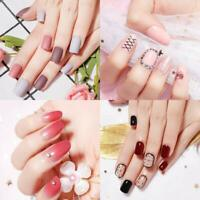 24Pcs Fake Nails Artificial Nail Art Full Cover False Nail Tips w/ Glue Sticker