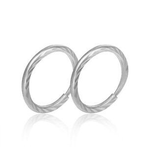 Solid Pt950 Platinum 950 Earrings Women Luck Stripe Hoop Earrings / 1.3g