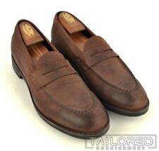 ALLEN EDMONDS Solid Brown Suede Penny Loafer Dress Shoes - 10.5 B