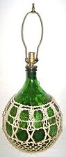 Mid Century Table Lamp Emerald Green Glass Demijohn Wine Bottle Macrame Netting