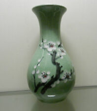 Asian Vintage Pottery Vase Celedon Green w/ Hand Painted Flowering Tree Branch