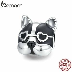 BAMOER European S925 Sterling silver Enamel Cute Bulldog DIY Charm Fit Bracelet