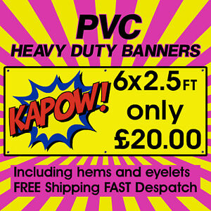 6x2.5ft PVC Banners Outdoor Vinyl Banner Advertising Sign Display Printed Banner