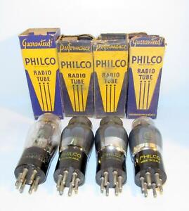 Set of 4-NIB Philco type 42 ST style amplifier vacuum tubes. TV-7 test strong.