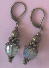 Raindrop color CHINESE Crystal earring BRONZE LEVERBACK handcrafted