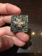 Vintage Large Silver Stainless Steel Cross Crest Size 12.5 Men's Ring