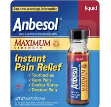Anbesol Maximum Strength ORAL ANESTHETIC Liquid INSTANT PAIN RELIEF Toothaches