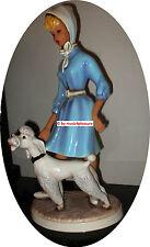 Frau / Mädchen mit Pudel FIGUR Cortendorf 1287 1950er Jahre 50 cm HOCH !! Türkis