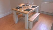## Handmade chunky pine wooden rustic farmhouse dining table, 6 seater, oak ##