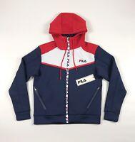 Fila Lance Tech Hoodie Mens Medium Full Zip Scuba Poly Color Block Sweatshirt
