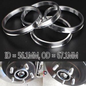 For Honda Acura Civic 67.1mm (Wheel) to 56.1mm (Hub) Centric Rim Spacer Ring x4