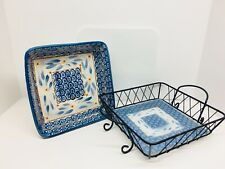 Temp-tations Presentable Ovenware Baking Dish & Wire Rack- Old World Blue 2.5 Qt