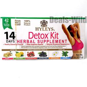 HYLEYS 14 Day Detox Kit Tea (Detox & Sleep) Drink Hot or Cold 6 Flavors 42 Bags