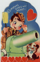 Boom Goes My Heart Military Soldier Cute Vintage Greeting Valentines Card 1940's