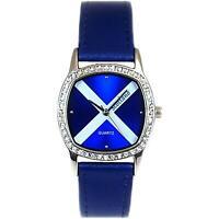 Boxx Analogue Scotland Scottish Flag Blue Leather Strap Ladies Dress Watch
