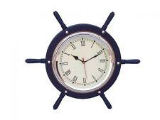 "Dark Blue Wood And Chrome Ship Wheel Clock 15"" - The Ships Wheel - Nautical Wall"