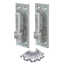 More details for £=pair gate hinge hook on plate with 12/16/19mm pin on plate galvanised +screws