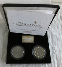 2003 CORONATION ANNIVERSARY HM GOLD GILD SILVER INGOT AND CROWN SET - boxed/coa