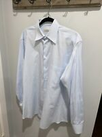 $625 Ermenegildo Zegna 40 15.75 - Blue Solid French Cuff Work Dress Shirt