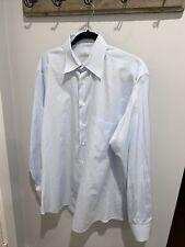 $625 Ermenegildo Zegna 40 15.75 - Blue Solid French Cuff Work Dress Shirt