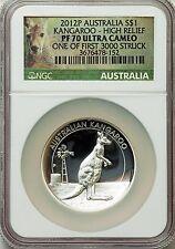 2012-P $1 High Relief Silver Kangaroo Dollar PR70 Ultra Cameo NGC (1188)