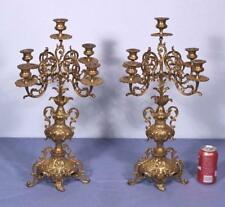"*XL 23"" Tall Pair of French Brass Bronze Candelabra Candlesticks"