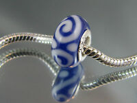 925 SILVER STAMPED BLUE MURANO GLASS BEAD FOR EURO STYLE CHARM BRACELET #DC 199