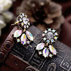 Vintage Women Fashion AB Crystal Flower Petals Stud Earrings Statement Jewelry