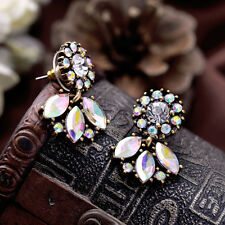 Vintage Womens Fashion AB Crystal Flower Petals Stud Earrings Statement Jewelry