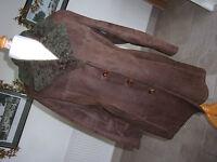 """WOOLEA Ladies Genuine Vintage 1960's Brown SHEEPSKIN 3/4 Coat. Chest 38"""""""