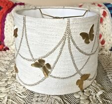 Anthropologie Lamp Shade Gold Butterfly Appliqué Ivory Metallic Texture 12 M NEW