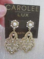 Stunning Carolee Lux Gold Tone Faux Pearl Pave Stone Hanging Earrings