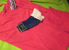 LOT of 2 - M Woman Fleece NEON PINK Pants & NON-Skid Socks Elderly Hospital NWT