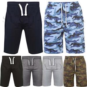 Mens Plain Camouflage Sweat Summer Jogger Fleece Baggy Jersey Running Gym Shorts