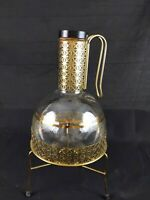 VINTAGE Pyrex Glass Brass Gold Trim Coffee Carafe Beverage Server W/Warmer Tray