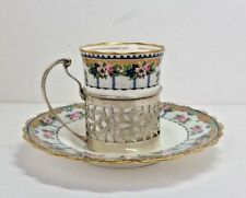 1928 AYNSLEY ART DECO ESPRESSO COFFEE CUP & SAUCER WITH STERLING SILVER HOLDER