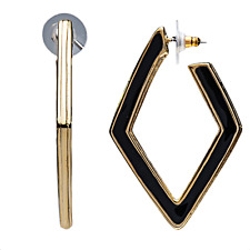 Kenneth Jay Lane Gold & Black Diamond Drop Post Earrings