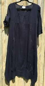 Navy Blue Long Cocoon Linen Dress Roll Up Sleeve NWT sizes 10 12 14 16 18