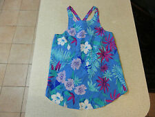 Women's FOREVER NEW Size 12 AU Singlet/Tank Top Blue ExCon Floral Silk Ladies