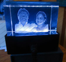 Personalized Crystal Cube HighEnd Laser engraved 3D Personal with Light Base kit