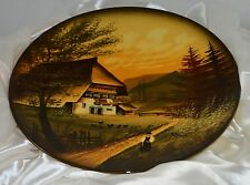 Large CICO Hand Painted Signed Decorative Plate Germany Cottage Farm