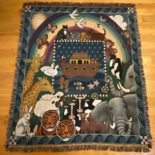 "Noah's Ark Throw Blanket American Weavers 60"" x 50"" Fringe Wall Hanging"