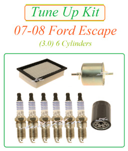 Tune Up for 07-08 Ford Escape 08 Tribute 3.0 v6 Spark Plug Air Filter Fuel & Oil