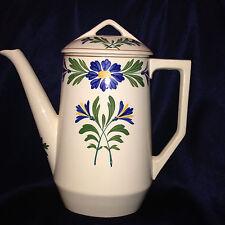 LONGCHAMP FRANCE SARREGUEMINES COFFEE POT 50 OZ BLUE FLOWERS FORET VOSGES