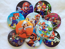 NEW: 2 BADGES: 4.4CM SUPER MARIO BROS BIRTHDAY PARTY LOLLY BAG/ TREAT BOX FILLER