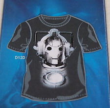 Doctor Who Mens Cyberman Black Printed Short Sleeve T Shirt Size L New