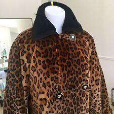 1994 vintage GIANNI VERSACE leopard faux fur coat quilted w/ fur collar size 44
